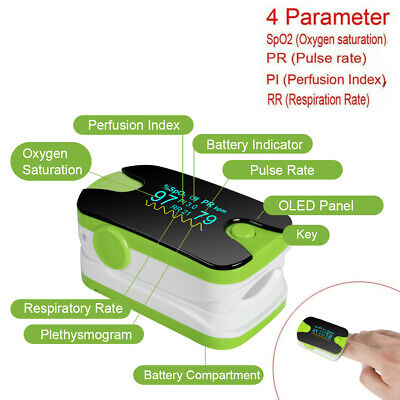 Finger Pulse Oximeter Blood Oxygen Spo2 Pr Pi Respiratory Ratemonitor Fdace