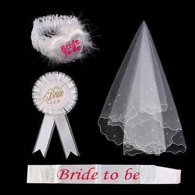 White Bride To Be Rosette Badge Sash Garter Veil Decor Veil 4 Piece Set White - Bride To Be Sash