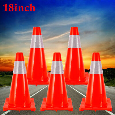 5pcs Safety Traffic Cone With Reflective Caution Strips Wind Resistance 18 Inch