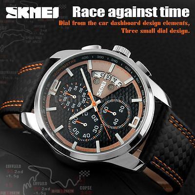 Skmei Men Sport Watch Leather Waterproof Date Quartz Chronograph Watch 9106 I4t3