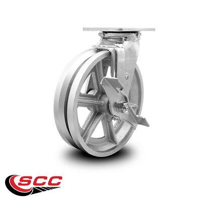 Scc 8 X 2 V Groove Semi Steel Wheel Swivel Caster Wbrake - 1400lbscaster