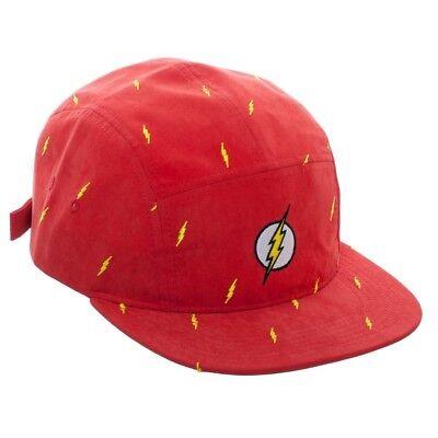 DC COMICS FLASH BOLT LOGO RED 5 PANEL CAMPER HAT BIKER CAP CYCLING ADJUSTABLE - Flash Hat