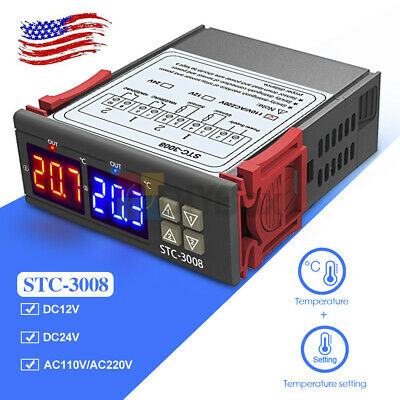 Stc-3008 Thermostat 12v 24v 110v-220v Dual Led Probe Temperature Controller