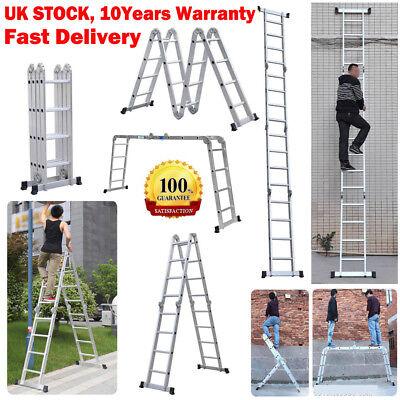 Heavy Duty Foldable Ladder 4.7m Multi Purpose Extendable Aluminum Ladders 150KG
