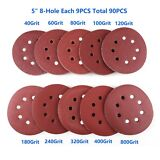 5in 40 60 80-800 Grit Hook Loop Pads Sanding Disc Orbital Sandpaper Sheet Sander