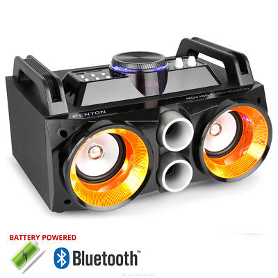 Battery Powered Portable Stereo Ghetto Speaker with Bluetooth USB & Lights 100w