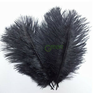 New-10-PCS-Wholesale-Quality-Natural-OSTRICH-FEATHERS-12-14-Inch-Black-Color