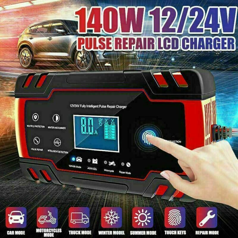 Smart Automatic Car Battery Charger 12/24V 8A Touch Screen Pulse Repair AGM/GEL