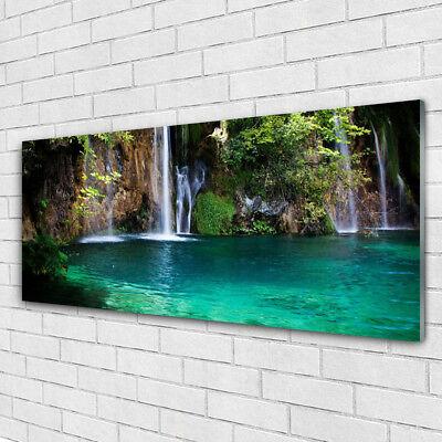 Wandbilder Glasbilder Druck auf Glas 125x50 See Wasserfall