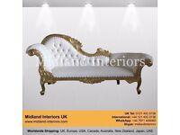 NEW Paris Chaise Longue French Sofa - Gold & White - Luxury Italian Gothic Ornate Asian Wedding Chic
