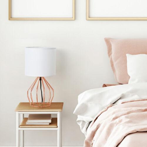 Modern Rose Gold Desk Table Lamp Bedside Lamp Hollowed Out Base Bedroom Dorm
