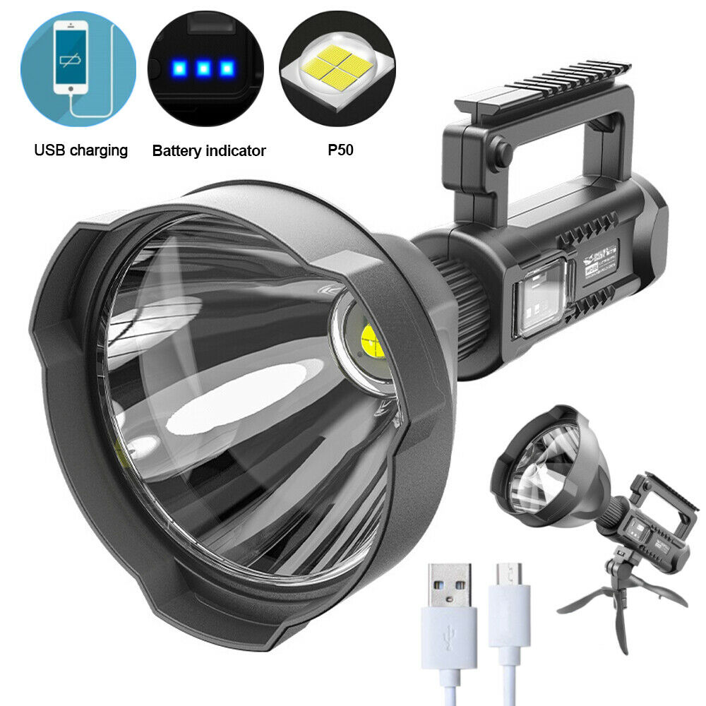100000LM LED Flashlight Searchlight Spotlight Camping Lamp With Built-in Battery