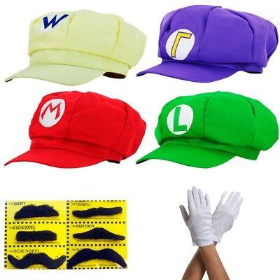 Super Mario Mütze Kostüm Karneval Fasching Cap Handschuhe Erwachsene Cosplay (Super Mario Kostüm)