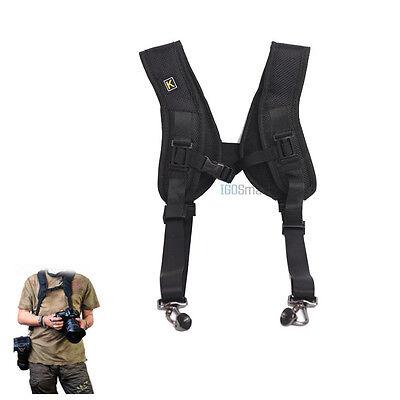 Double Shoulder Sling Belt Quick Rapid Strap for 2 DSLR Camera / Lens binoculars