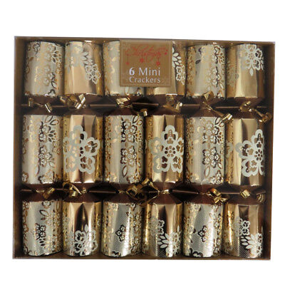 Luxurious Christmas Mini Crackers, Silver & White or Cream & Gold, Box of 6 ()
