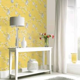 4 x Rolls Mustard & Grey Unopened Wallpaper. RRP £10 Each! Sell £20 for 4!