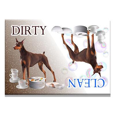 DOBERMAN PINSCHER Clean Dirty DISHWASHER MAGNET No 2 RED