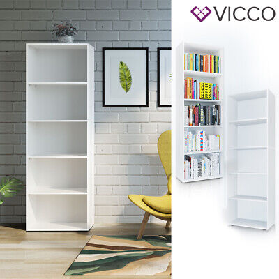 VICCO Bücherregal EASY XXL Weiß Standegal Wandregal Aktenregal Schrank Büro
