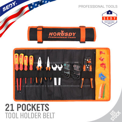 Polyester Large Roll Bag (Large Tool Roll Up Pouch Bag Wrench Organizer 21 Pockets Easy Storage & Portable )