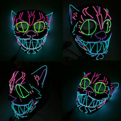 Cat Mask For Halloween (Neon Cat EL Wire Glowing Ears Halloween Mask Trippy Cosplay Led Rave Costume)