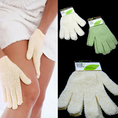 2 Pairs Shower Exfoliating Wash Skin Spa Bath Gloves Massage Loofah Scrubber New