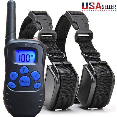 2 in 1 Electric Shock  Anti Bark Collar Dog Train Collar With LCD Remote Control