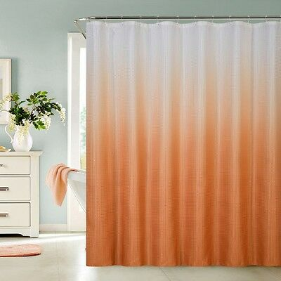 13 Piece Waffle Fabric Ombre Shower Curtain Made With 100% Polyester (Orange)