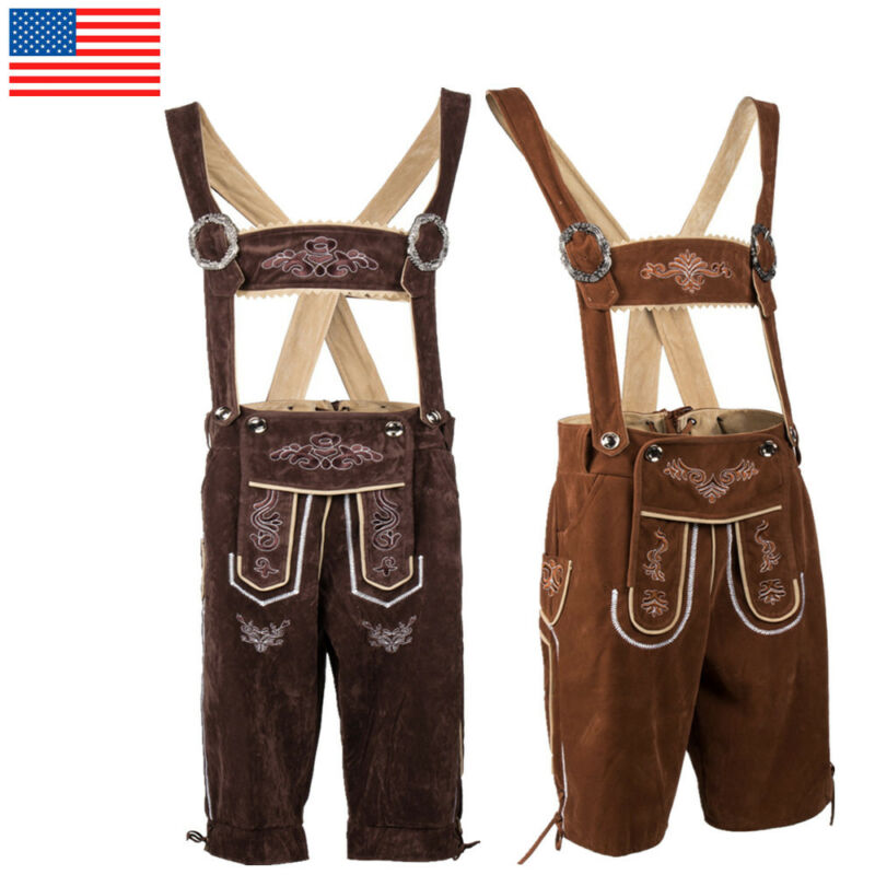 Traditional German Bavarian Lederhosen Oktoberfest Beer Men Suspenders Shorts