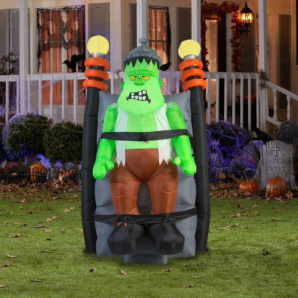 6' Halloween Short Circuit Monster Shakes & Lights Flash Airblown Inflatable