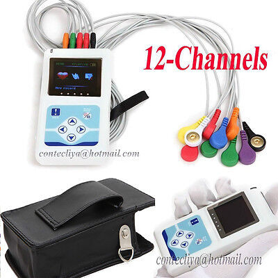 Usa 12-channel Ecgekg Holter System 24h Recorder Monitor Analyzer Softwarefda