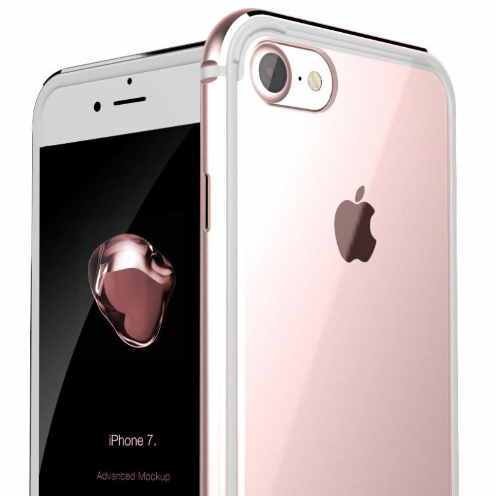 THIN Clear Back Aluminum Metal Bumper Slim Case Cover For iPhone 8/7/6s Plus