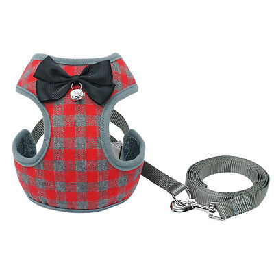 Red Bowknot Grid Mesh Dog Harness and Leash set for Medium Dogs Adjustable