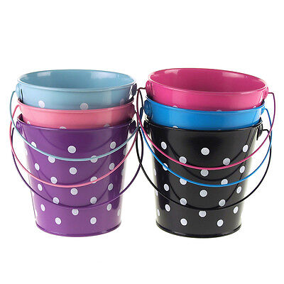 Polka Dot Metal Pail Buckets Party Favor, 5-Inch (Party Favor Buckets)