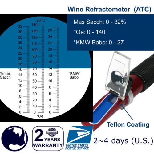 0-140°Oe, 0-27°KMW Babo, 0-32%Brix/Mas Sacch, Wine Handheld Refractometer ATC