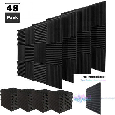 "48 Pack Acoustic Foam Wedge Panels Soundproofing Studio Wall Tiles 1""X 12"" X 12"""
