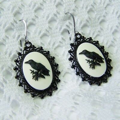 Raven Earrings, Odin Black Bird Crow Earrings, GOTH STEAMPUNK Halloween Witch - Odin Halloween