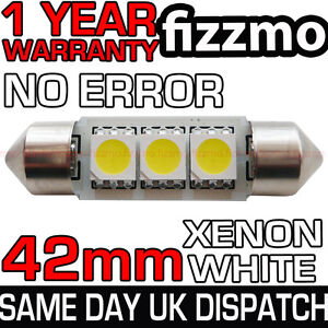 3-SMD-LED-42mm-264-CANBUS-NO-ERROR-XENON-WHITE-NUMBER-PLATE-LIGHT-FESTOON-BULB