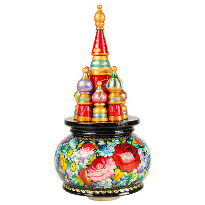 Russian Music Box St Basil's Cathedral Zhostovo Hand Painted plays Moscow Nights