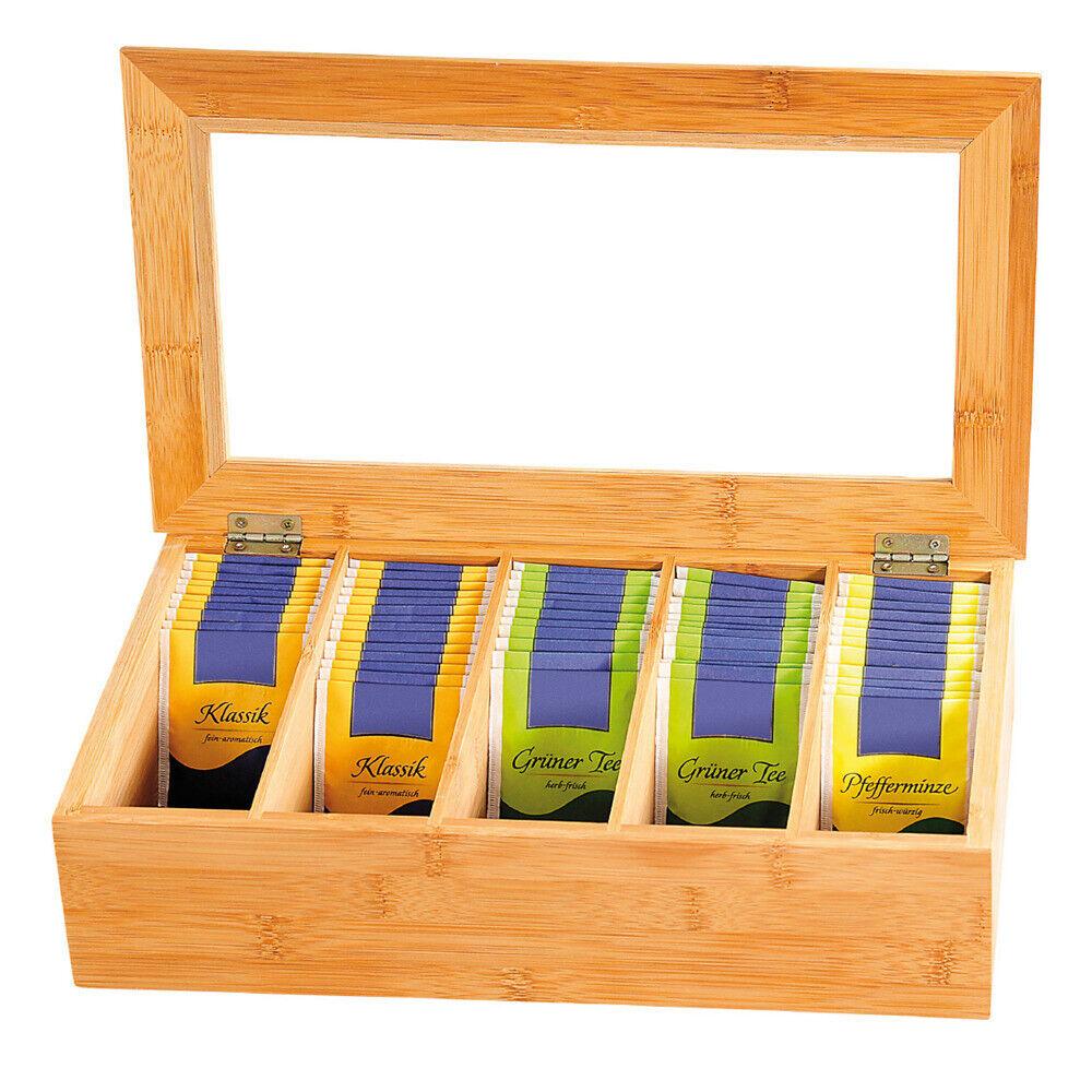 Teekiste aus Bambus Box für Tee Teebox Teebehälter Teebeutelkiste