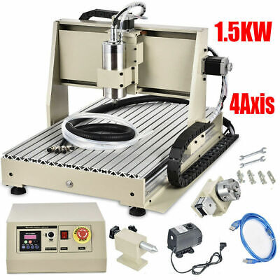 Usb 4axis 6040z Cnc Router Engraver Set 3d Carving Mill Machine 1.5kw Vfdspindle