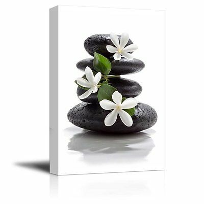Zen Magnolia - wall26-Canvas Prints- Zen Basalt Stones with Calming Magnolia Flowers- 12