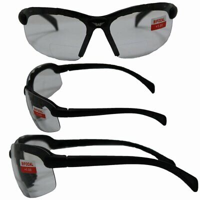 GLOBAL VISION C-2 BIFOCAL SAFETY GLASSES BLACK FRAMES 1.0 CLEAR LENS