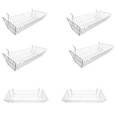 6 Pc Metal Wire White Slatwall Gridwall Pegboard Large Double Sloping Basket