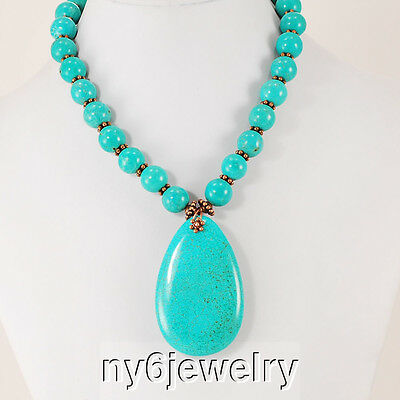 Blue Magnesite Turquoise Necklace w/Large Pendant & Copper Tone Toggle 19.5""