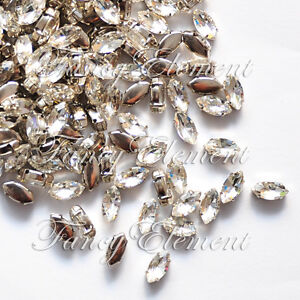 48 Rhinestone 4200 5x10mm Sew On Clear Crystal Navette Fancy Stone Element Lot
