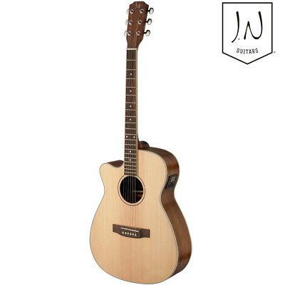 J.N Guitars Asyla Left Hand Auditorium Cutaway Acoustic Electric Guitar Natural for sale  Shipping to India
