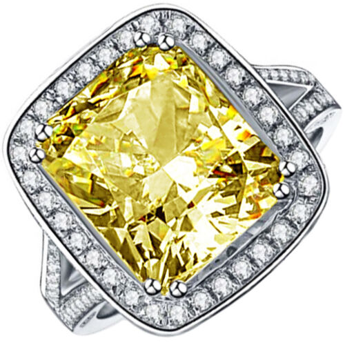 GIA Certified 4.25 Carat Fancy Yellow Cushion Diamond Engagement Halo Style Ring