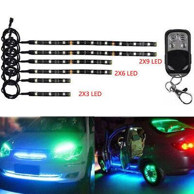 6pcs Color LED Car Motorcycle Chopper Frame Glow Light Flexible Neon Strips Set