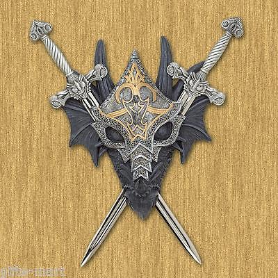 Medieval dragon knight battle throne crest Sculpture wall sword display statue (Medieval Crest)