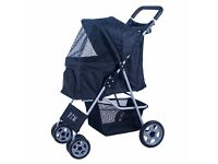 SALE! Pet Travel Dog Stroller Dog Puppy Pram Jogger Cat Pushchair with 4 Swivel Wheels (Black)
